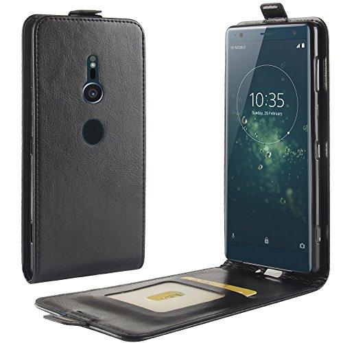 Zl One Compatível com/Substituição para Capa de telefone Sony Xperia XZ2 Premium Couro Poliuretano Proteção Cartão Compartimentos Capa carteira Capa flip (Preto)