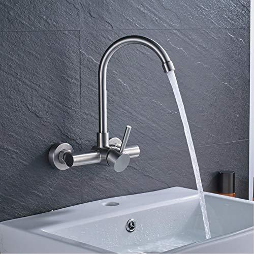 Wandmontage keukenkraan eengreepsmengkraan straalregelaar warm- en koude uitloop mengkraan voor badkamer van geborsteld nikkel