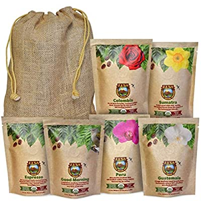 Java Planet - Coffee Beans, Organic Coffee Sampler Pack in Burlap Bag, Whole Bean Variety Pack, Arabica Gourmet Specialty Coffee, 1.32 POUNDS of coffee packaged in six 3.2 oz bags