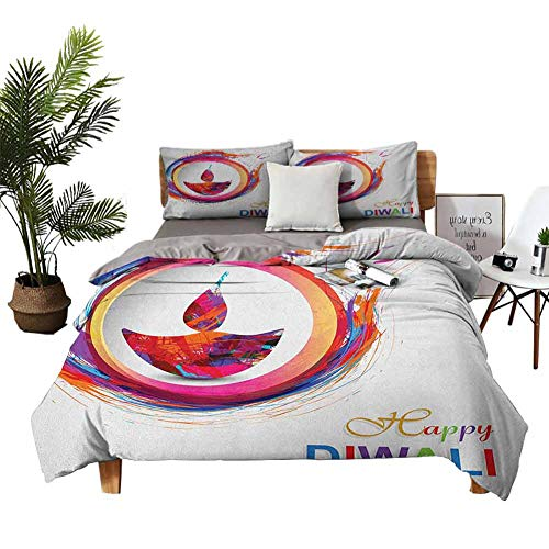 DRAGON VINES 4 Bedding Cover Set Satin Sheets Crib Sheets Vivid Rainbow Themed Colored Modern Image of Diwali Celebration Candle Fire Print Multicolor Apartment Dormitory W85 xL85