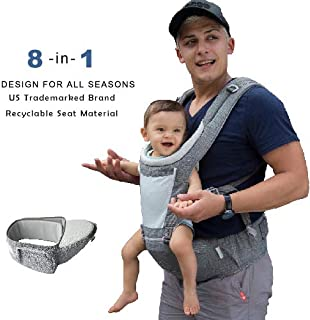Dada Hip seat baby carrier,neutral gender grey,backpack,all season mesh light