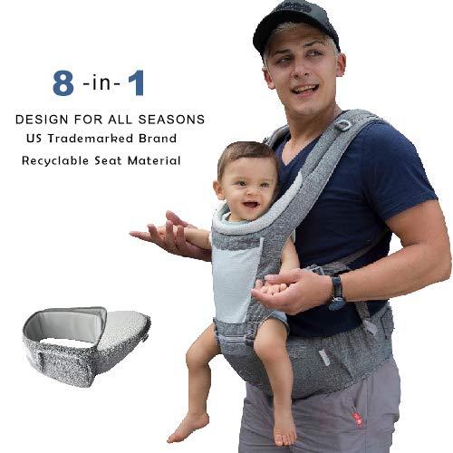 Dada Hip seat baby carrier, unisex grey, backpack carrier, all season mesh light