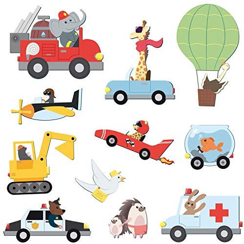 Wandtattoo Tiere im Verkehr - Kinderzimmer Junge Auto Aufkleber Wandsticker Sticker Straße Deko Straßenverkehr Fahrzeuge Wandaufkleber Aufkleber Wanddeko