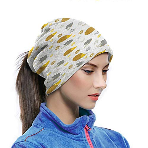 Hedgehog Neck Warmer Autumn in Woods Theme Different Wildlife Mascots with Little Flowers Reusable Bandanas Goldenrod Grey Yellow for Fishing Hiking Cycling