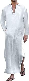 Jacansi Men's V-Neck Short Sleeve Robe Side Split Kaftan Cotton Long Gown Thobe S-3XL