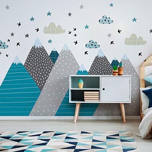 Wandaufkleber, selbstklebend, für Kinder, Riesen-Dekoration, skandinavische Berge für Kinderzimmer, Janeka, 55 x 110 cm