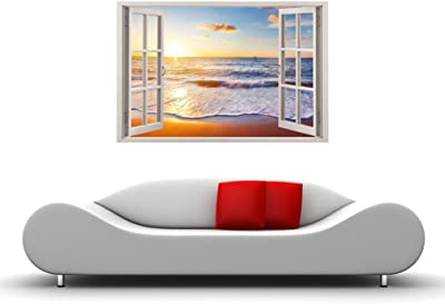 Paper Plane Design Relaxing Dynamic Ocean Beach Wall Decal Sticker (Vinyl, 90 cm x 0.625 cm x 60 cm, Multicolour)
