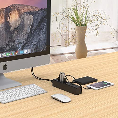 ORICO Aluminium Super Speed Tragbar 10 Ports USB Hub BC1.2-Protokoll für Ladegeräte Datenhub mit 12V 3A Netzteil und 1M USB Cable- High-End, Highspeed - für Desktop-PC Computer Notebook MacBook iMac