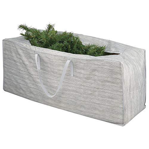 mDesign XL Inpakpapier Organisator – Extra grote Synthetische Stof Draagtas voor Gift Wrap Rolls – Draagbare Kast Organisator met Handgrepen voor Lange Rollen en Decoraties – Grijs/Beige
