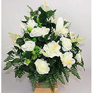 XL Spring Mixture Artificial Silk Flower Cemetery Standard Vase Arrangement