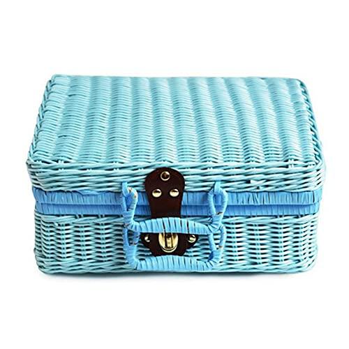 Desconocido Generic Estuche de Almacenamiento Tejido de ratán Vintage Soporte de Maquillaje Maleta Organizador de artículos Diversos Caja Azul M