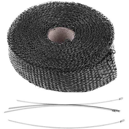 zhoul Exhaust Wrap Tap 5m Cinta Aislante para automóvil Envoltura térmica de Escape con 4 Bridas de Acero Inoxidable(Negro)