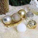Valery Madelyn Weihnachtskugeln 50 Stücke 6CM Kunststoff Christbaumkugeln Weihnachtsdeko mit Aufhänger Weihnachtsbaumschmuck für Weihnachtsdekoration Elegant Basiskugel Thema Gold Weiß - 2