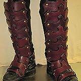 SKLLA Armadura Retro De Cuero para Las Piernas, Polainas Góticas Kit De Disfraz De Caballero Vikingo Medieval Funda para Botas De Cosplay para Hombre,Rojo