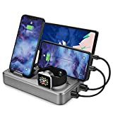 Android Charger Station for Multi Device Sendowtek 5 Port 50W USB Charger Docking Station QC 3.0 Desktop Watch Stand Organizer 5 Mixed Cables for Android Cell Phone Tablet Electronic Devices UL Listed