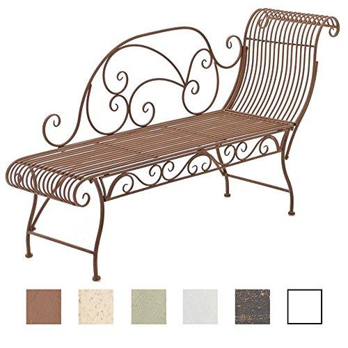CLP Banc de Jardin Karma en Fer Forgé - Banc avec Récamière - Banquette de Jardin Style Romantique - Chaise Longue de Jardin en Fer - Couleur: Marron Antique
