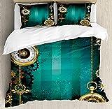 ABAKUHAUS Industrial Funda Nórdica, Claves del Reloj Antiguo, Decorativo 3 Piezas con 2 Fundas de Almohada, 230 x 220 cm - 70 x 50 cm, Multicolor