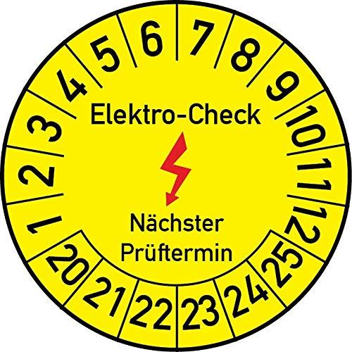 Elektro-Check Prüfplakette, 100 Stück, in verschiedenen Größen, Prüfetikett Prüfsiegel Plakette Elektro-Prüfung (30 mm Ø)