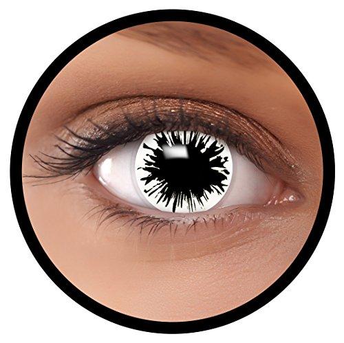 Farbige Kontaktlinsen weiß Shot MIT STÄRKE | Ideal für Halloween, Karneval, Fasching oder Fastnacht | Inklusive Behälter von FXEYEZ | In verschiedenen Stärken als 2er Pack