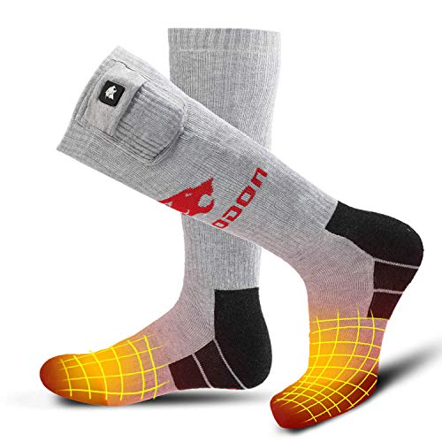 Smilodon Heated Socks, Electric Heating Rechargeable Battery Powered Knee High Thermal Insulated Socks Men Women for Winter Outdoor Ski Hiking Ice Fishing Hunting Motorcycle (SMS03, Large)