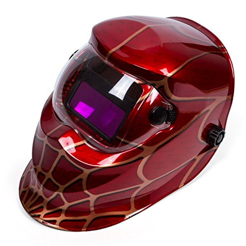 "Holulo Red Spider Design Solar Power Auto Darkening Welding Helmet ARC TIG MIG Welder Mask Mask View size 93mm X 43mm (3.66"" X 1.69"")(Red spider)"