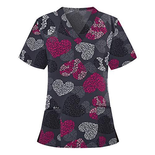 Women's Holiday Tops Holiday Thanksgiving & Christmas Cute Scrub_Top V-Neck Short Sleeve Working Uniform Tops