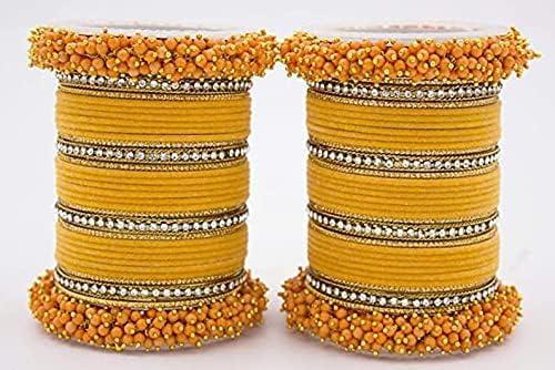 Yellow Silk Thread Plain Bangles Set for Women/Girls