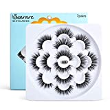 Soararc False Eyelashes Dramatic 5D Faux Natural Mink Eyelashes for Women, Girls Soft Volume Fluffy Handmade Reusable Long Fake Eyelashes 7 Pairs, 7S04