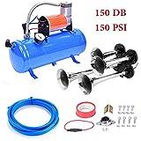 150DB Train Air Horn Kit, 4 Trumpet Loud Train Horns Kit for 150 PSI 12V Air Compressor 1.59 Gallon for Trucks, Cars, Van Boats Super Loud Air Horn( Blue)