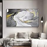 N / A Pintura sin Marco Índigo Abstracto y Nubes Azules sobre Lienzo y Pintura de línea Dorada para la decoración artística de la galería de la salaZGQ7082 50X100cm