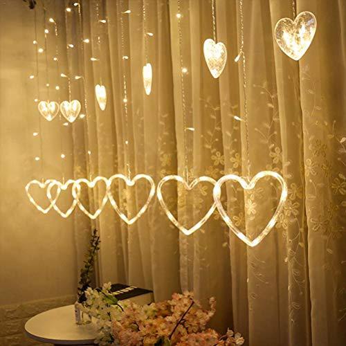 LED Lichtervorhang Lichterkette 12 Herz 138pcs LED Fenstervorhang Lichter Mit 8 Modi für Weihnachten Hochzeit Party Haus Fenster Dekoration