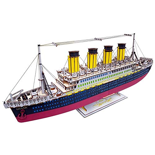 XLQ 3D Puzzles - Wooden Titanic Toys,DIY Assembly Model Kits for Girls And Boy (371 Piece)