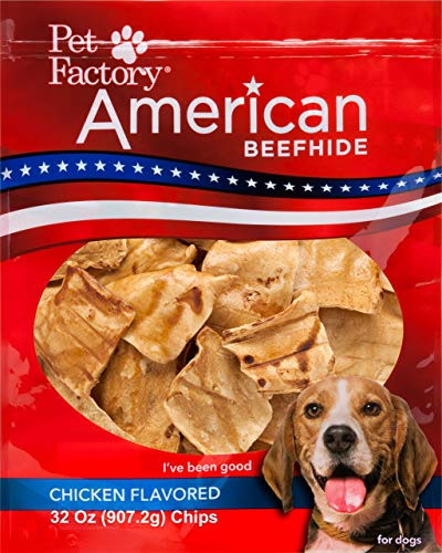 Pet Factory American Beefhide Chews 38347 Rawhide Chicken Flavor Chips for Dogs. American Beefhide is a Great Natural Source for Protein, Assists in Dental Health. Jumbo Value Pack 2 Pounds of Chips