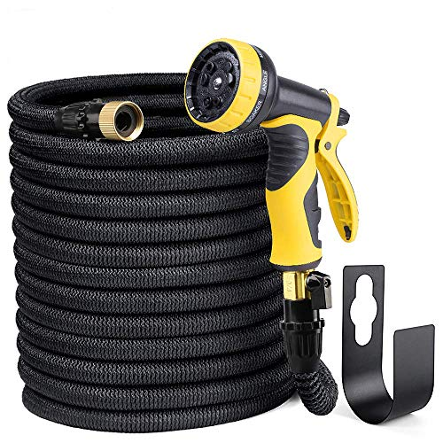 """Delxo 100FT Expandable Garden Hose Water Hose with 9-Function High-Pressure Spray Nozzle,Black Heavy Duty Flexible Hose, 3/4"""" Solid Brass Fittings Leakproof Design (Black)"""