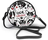 BAODANLA Bolso redondo mujer Cute Hand-Drawn Dogs Collection Women Soft Leather Round Shoulder Bag Zipper Circle Purses Sling Bag