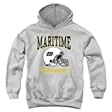 Massachusetts Maritime Academy Official Football Helmet Unisex Youth Pull-Over Hoodie, Athletic Heather, Large