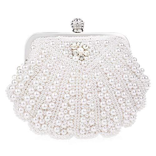 NICOLE & DORIS Cartera de Mano Fiesta, Clutch Mujer Bolso al Hombro para Mujer Retro Beaded Perlas Bolso de Noche Bolso de Embrague para Ceremonia Boda Novia Blanco