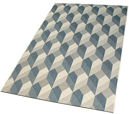 DomDeco In- und Outdoor-Teppich Modern Block Pattern Bluegrey L 140 x 200 cm Kunststoff für Innen und Außen