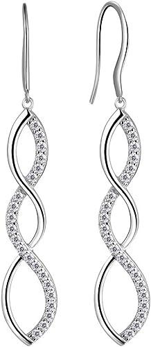 Aurora Tears Femmes 925 Sterling Silver Infinity Symbole Boucles d'oreilles Drop Hook Dangle Earring Bijoux Cadeaux p...