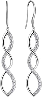 925 Sterling Silver Infinity Dangle Earrings Women Crystal Drop Earrings AAA+ Cubic Zirconia Hook Earrings Girls Dating Jewelry DE0062