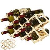QUCUMER Botellero Madera Plegable Espacio 10 Botellas Botellero Vino Madera Botellero Madera Apilable Botellero Madera Rustico Organizador de Vinos para Botellas de Vino No Ocupa Espacio Rústicos