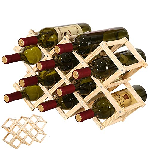 QUCUMER Botellero Madera Plegable Espacio 10 Botellas Botellero Vino Madera Organizador de...