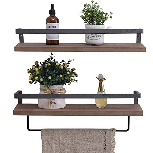 Imperative Décor Rustic Wood Floating Shelves Wall Mounted Storage Shelf with L Brackets USA Handmade| Set of 2 (Special Walnut, 24