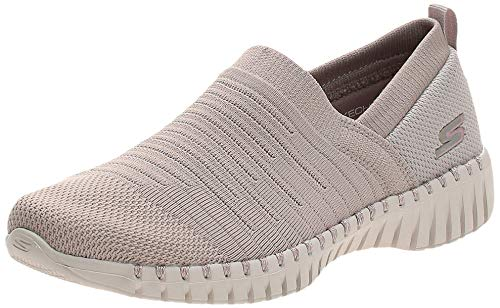 Skechers Damen Go Walk Smart- Wise Sneaker, Grau (Taupe Textile/Trim TPE), 38 EU