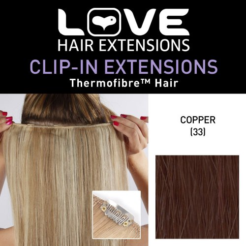 Love Hair Extensions - LHE/K1/QFC12/18/33 - Thermofibre™ - Barrette Unique Extensions à Clipper - Couleur 33 - Cuivre Riche - 46 cm
