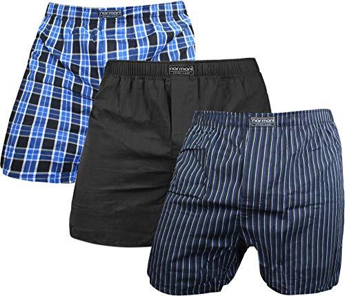 normani 3 x Herren Web Boxershorts aus Reiner Baumwolle Farbe Blau/Schwarz Größe M