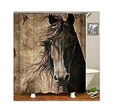 Beydodo Anti-Schimmel Duschvorhang 180x200 cm Pferd Wasserdicht Vintage Duschvorhang