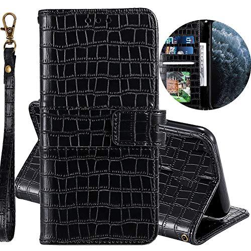 Miagon Krokodil Flip Hülle für Xiaomi Redmi Note 8 Pro,Stilvoll PU Leder Wallet Tasche mit Standfunktion Magnetisch Brieftasche Bookstyle Schutzhülle,Schwarz