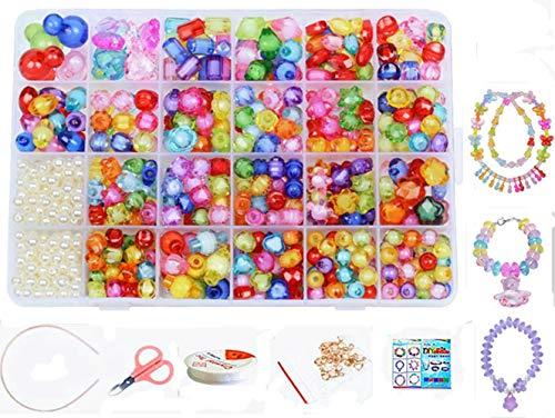 vytung 24 Clases Abalorios Perlas de Acrílica Cuentas Redondas Abalorios Colores Piedras para Pulseras Joyas DIY Manualid para niños niña Regalo Pulsera DIY Haciendo Kit(Color 2#)