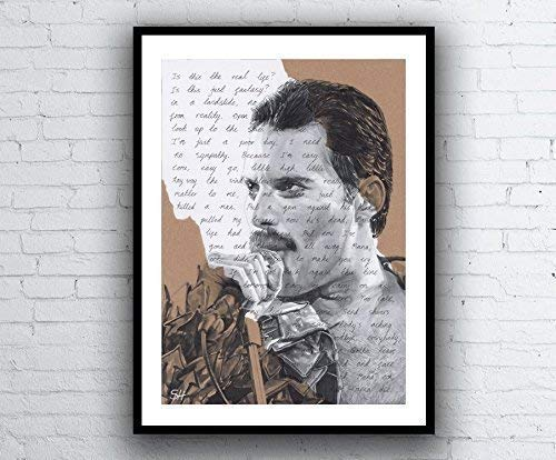 Freddie Mercury Portrait Drawing - signed Giclée art print with Bohemian Rhapsody Queen lyrics A5 A4 A3 size